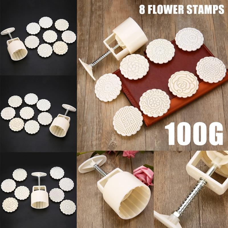 9Pcs/Set 8 Flower Stamps +1 Barrel Moon Cake Mold Hand Pressure Biscuit Mould DIY Baking Pastry Decorating Bakeware Tools