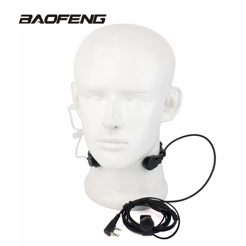 Uitschuifbare PTT Throat Microfoon Mic Earpiece Headset voor Baofeng - Walkie-talkies