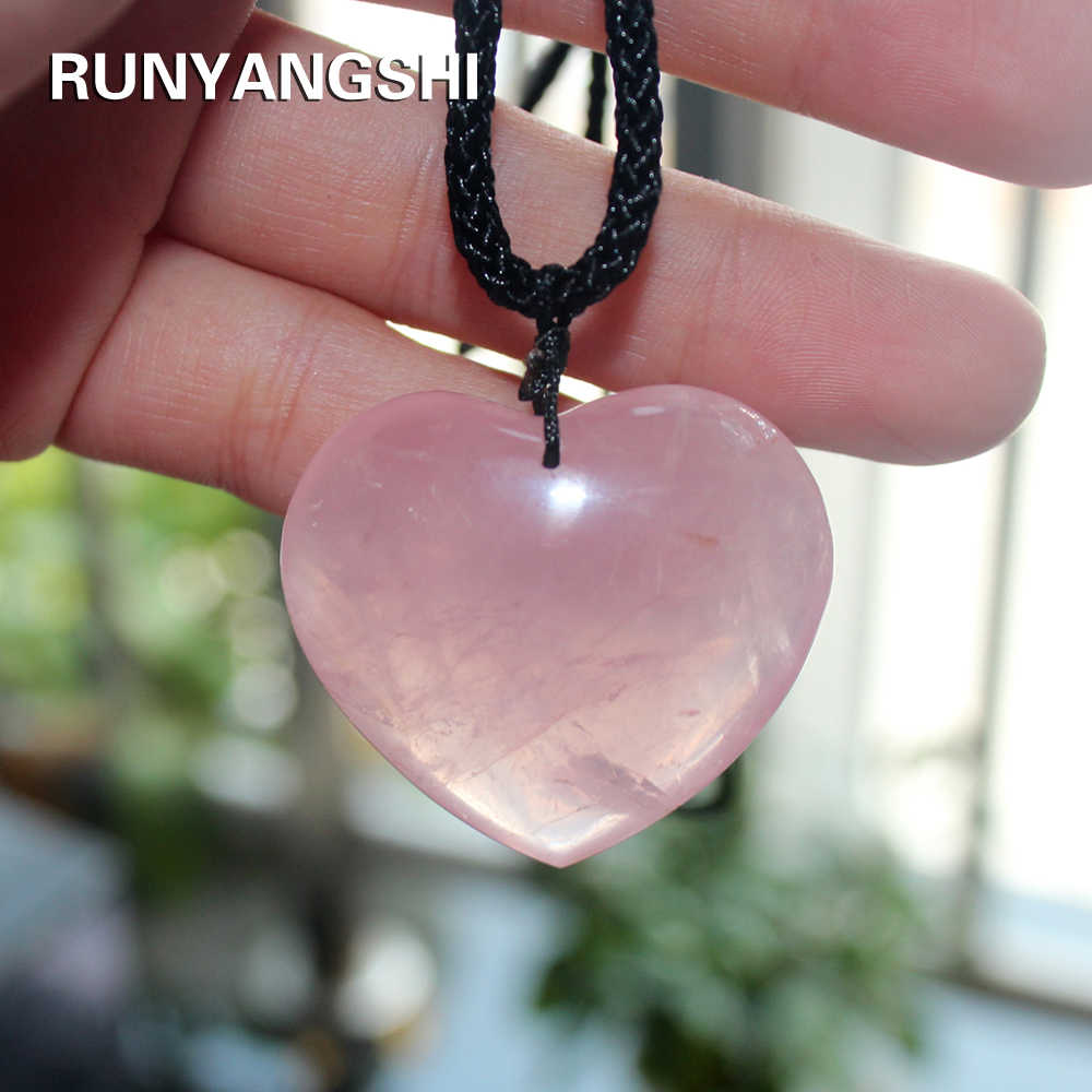 Love Heart Shape Natural Healing Stone Rose Quartz Pink Crystal Pendant Powder crystal Necklace jewelry love 35mm  Accessori