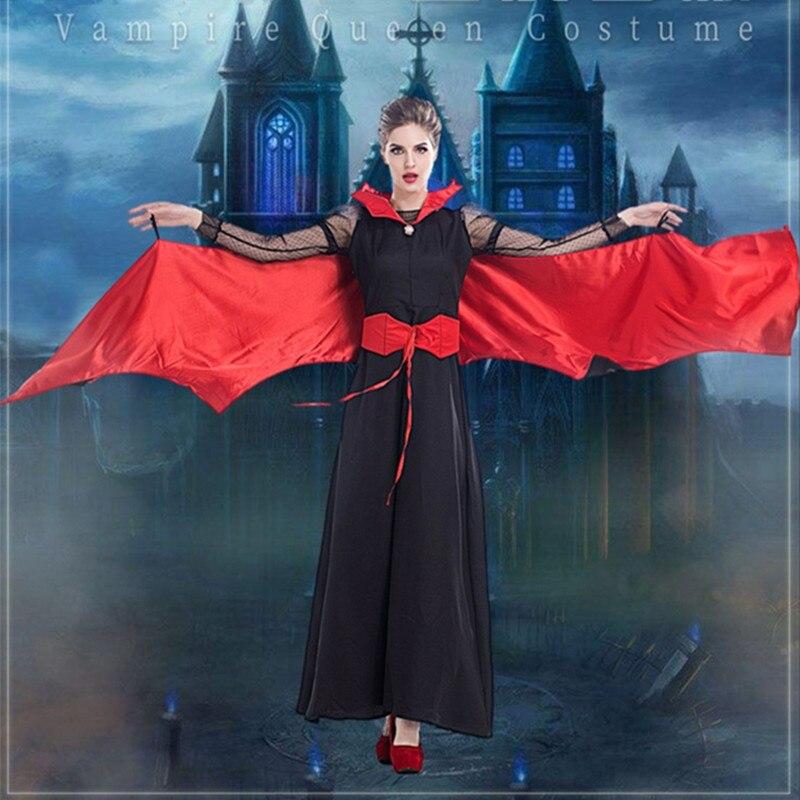 Haute qualité sombre sorcière reine maléfique femmes adultes Halloween Cosplay Costume scène Performance Vampire robes avec ailes de chauve-souris