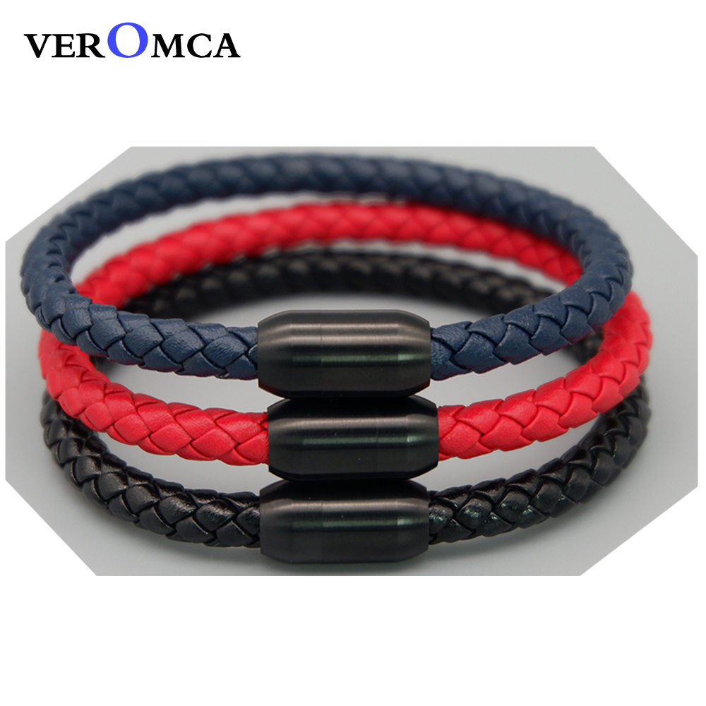VEROMCA Leather Bracelet Jewelry Stainless Steel Magnetic Bracelets Charm Bracelet For Man Women Couple Black Magnet Clasp