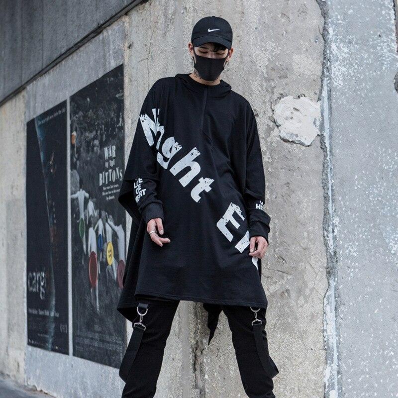 Hommes High Street Hip Hop Punk manteau à capuche lâche châles veste surdimensionné mâle mode décontracté à capuche sweat vêtement de scène