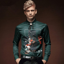 New 2017 Men Autumn Royal Prince Floral Slim Tuxedo Shirts Male Classic Casual Long sleeve Top shirts Clothing mens 512035