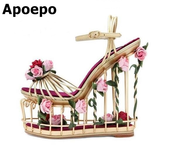 все цены на Women Open Toe Ankle Boots Buckle Strange Style Boots Cut-out Summer Sandals Summer Fashion Floral Cut-outs Strap Shoes