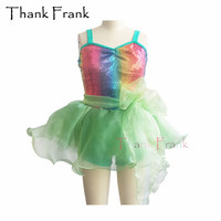 Rainbow Sequin Camisole Tutu Ballet Dress For Girls Women Lotus Trim Dance Costume C432