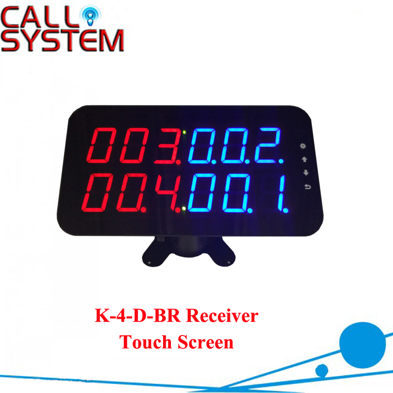 New Arrival Wireless LED number callling display receiver with touch screen function new restaurant equipment wireless buzzer calling system 25pcs table bell with 4 waiter pager receiver