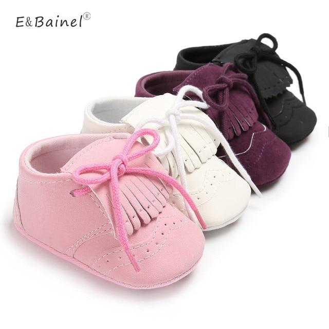 € 3.38 15% de réduction|Solide bébé fille chaussures mocassins doux frange fond doux enfants chaussures berceau chaussures PU daim cuir enfant en bas