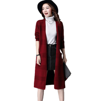 Plus Size Women V Neck Knitted Sweater Overcoat Female Loose Open Stitch Ladies All Match Basic