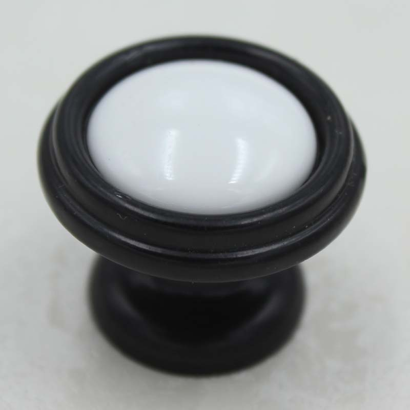 32mm Black Kitchen Cabinet Knobs White Ceramic Drawer