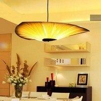 Китайский Стиль деревянный лампы шпон бамбук Гостиная подвесные светильники ресторан лампа Освещение для обеденной