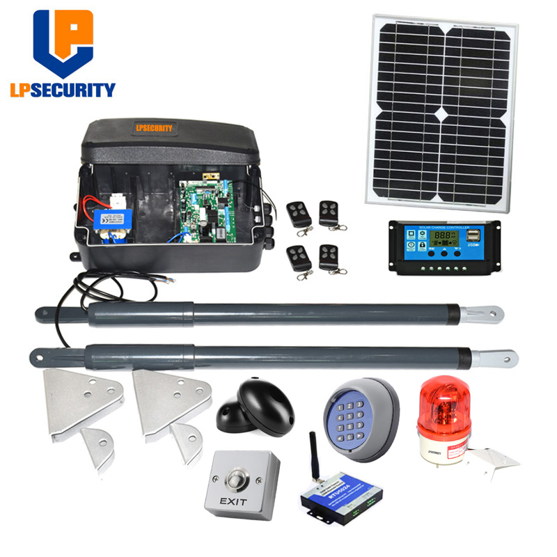 12VDC solar swing gate motor kit Linear arm Automatic con solar panel y controller sensor button