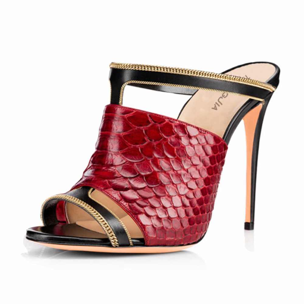 380d4a9d5 ... Women Sexy Peep Toe Mules Red Python Pattern High Heel Sandals Black Dress  Shoes Ladies Summer ...
