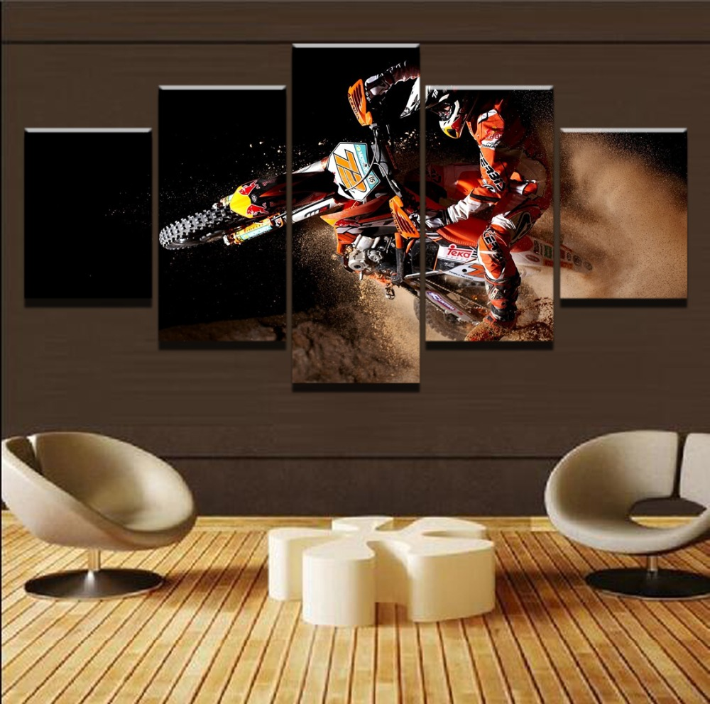 Modern Home Decor Frame HD Printed Posters 5 Pieces Motorcycle Painting Game Racing Picture Canvas Painting Living Room Wall Art