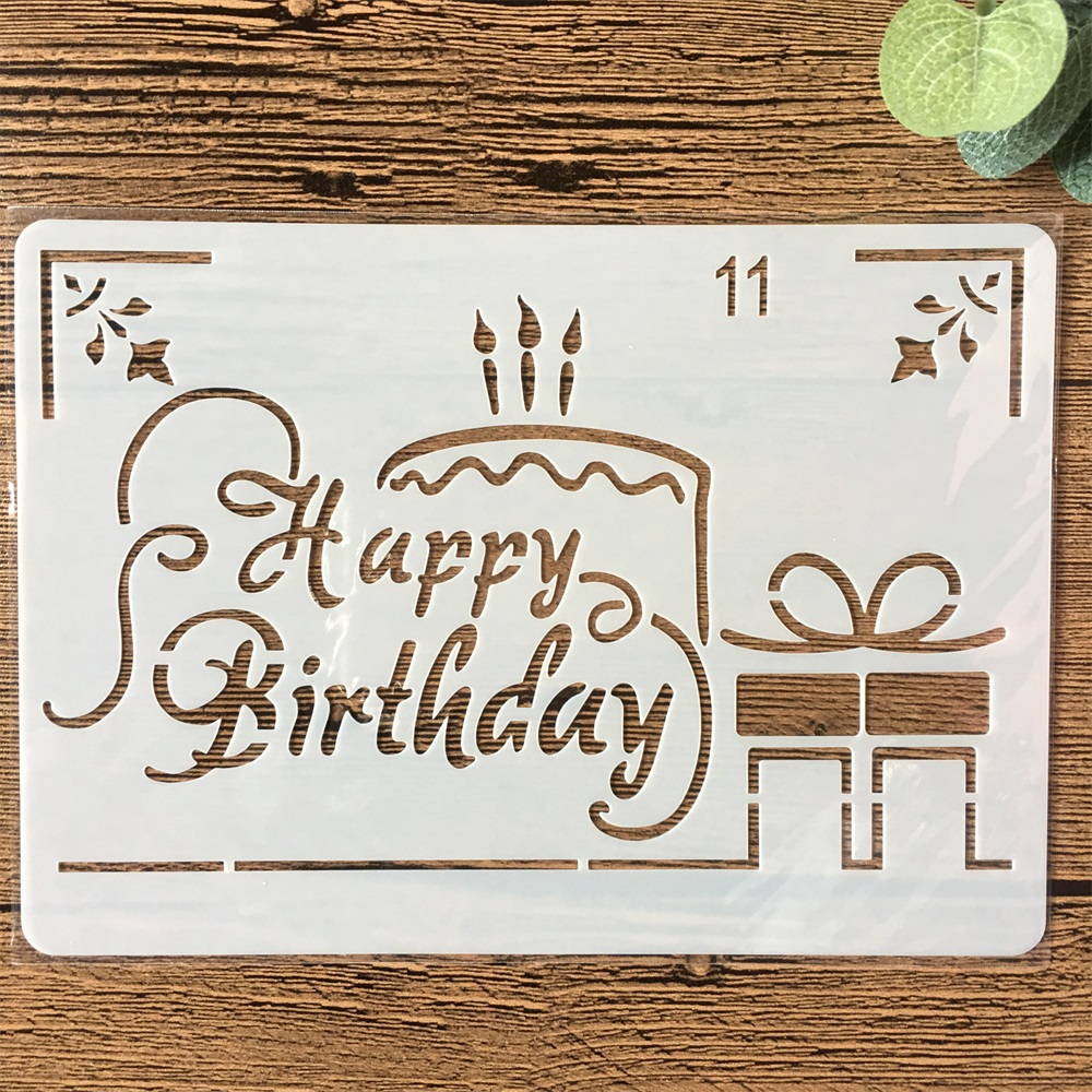 New 18cm Happy Birthday Cake DIY Layering Stencils Painting Scrapbook Coloring Embossing Album Decorative Paper Card Template
