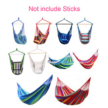 Hammock Swing Chair Hanging Rope Garden Striped Outdoor Hammocks Chair Hanging Chair Seat with 2 Pillows Leisure Swing Bed Adult недорого