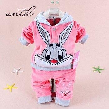 winter children autumn clothes sets baby boys girls hoodies pants clothes fashion long ear rabbit kids