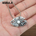 100% Real 925 Sterling Silver Vintage Lotus leaf pearl Pendant Necklace Jewelry For Men Or Wonmen Punk Thai Silver