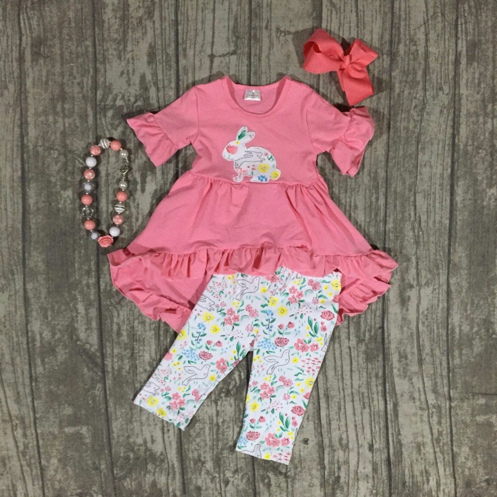 girls Easter clothing girls bunny party outfits children coral top dress with floral bunny capris pants clothes with accessories