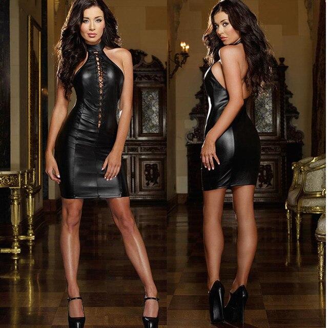 2018 Hot Sexy Black Slim Bandage Bodycon Night Clubwear Backless Sleeveless  PVC Faux Leather Dress Pole 1c968fb74d6c
