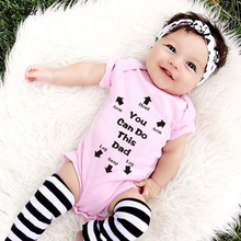 ФОТО godier summer newborn baby cotton shortsleeve romper boy girl you can do this dad printed jumpsuit kids clothes outfit