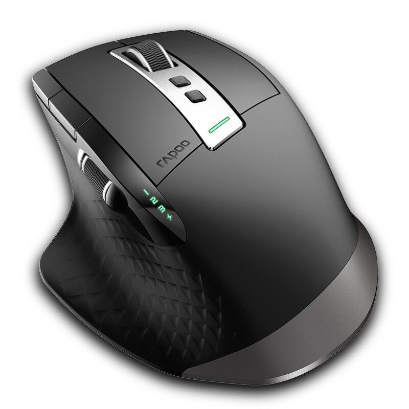 Commutateur de souris sans fil multimode Rechargeable Rapoo MT750S entre Bluetooth et 2.4G pour 4 appareils souris de connexion depuis PC/tablette