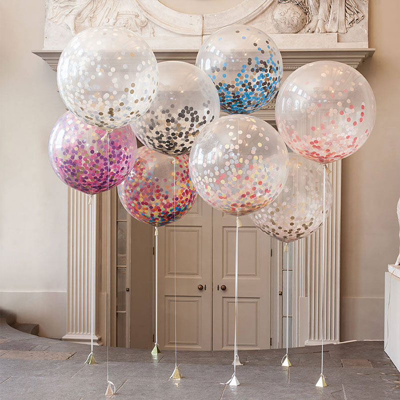 Hot 36inch Round Transparent Giant Balloon Colorful Latex Balloon Inflatable Big Confetti Balloon for Wedding/Birthday Decor