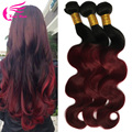 10A Grade 1b 99j Hair Weave Raw Indian Hair Body Wave 3pcs Dark Red Wine Indian Remy Hair Burgundy Ombre Human Hair Extensions