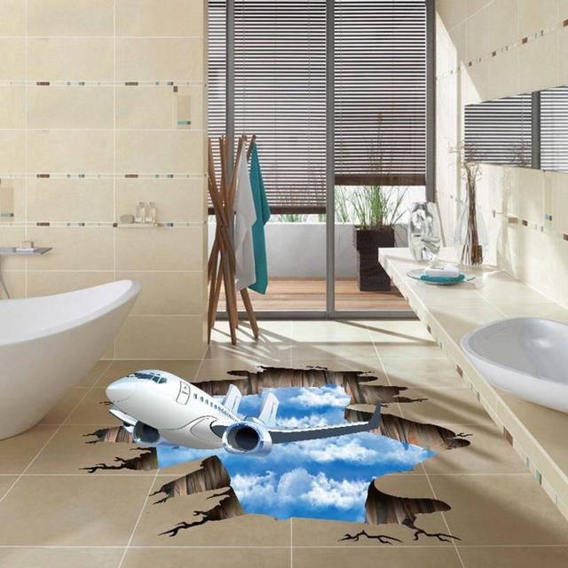 Drop Shipping Home Decor 3D Stream Floor Sticker Removable Mural Decals Art  Living Room Decor Levert