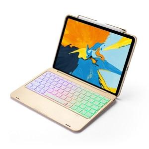 Для iPad Pro 11 2018, беспроводной Bluetooth чехол со светодиодной подсветкой, русская/испанская/Иврит Клавиатура, чехол-подставка, Встроенный держате...