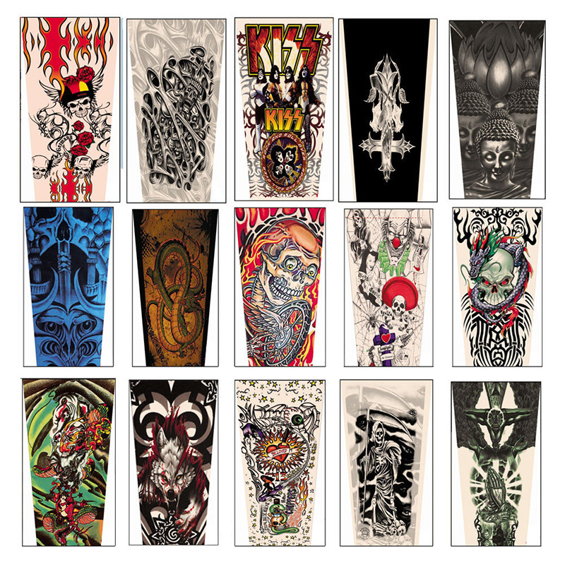 Apparel Accessories 1 Pair Mix Styles Temporary Fake Slip Tattoo Arm Sleeves Body Art Arm Leg Stockings Drop Ship #