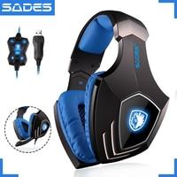SADES A60 Game Headset USB 7 1 Surround Sound Gaming Headset Gamer Vibration Function Headphones Earphones