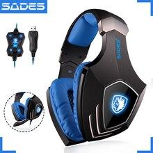 SADES A60 USB Виртуальная 7,1 игровая гарнитура проводные наушники глубокие басы вибрационные наушники с микрофоном для геймера