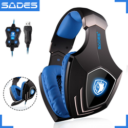 SADES A60 USB Virtual 7.1 <font><b>Gaming</b></font> <font><b>Headset</b></font> Wired Headphones Deep Bass Vibration Casque Headphone with <font><b>Microphone</b></font> for Gamer