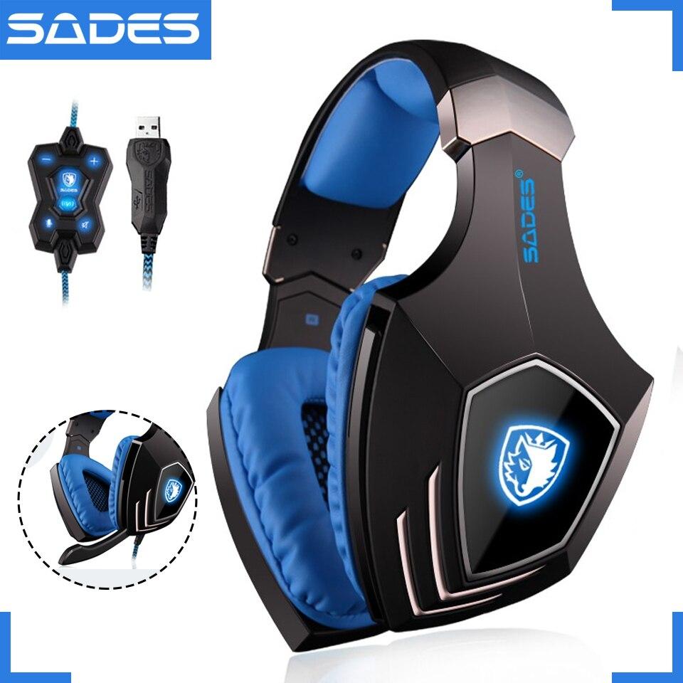 Sades A60 USB Виртуальный 7.1 Gaming Headset проводные наушники глубокий бас вибрации шлем наушники с микрофоном для Gamer