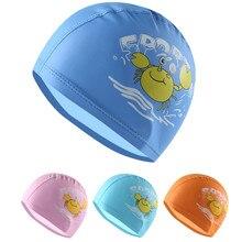 Водонепроницаемые Детские шапочки для плавания из искусственной кожи с мультяшным принтом, милая шапочка для бассейна 3-9 лет, высокая эластичная шапочка для плавания для мальчиков и девочек