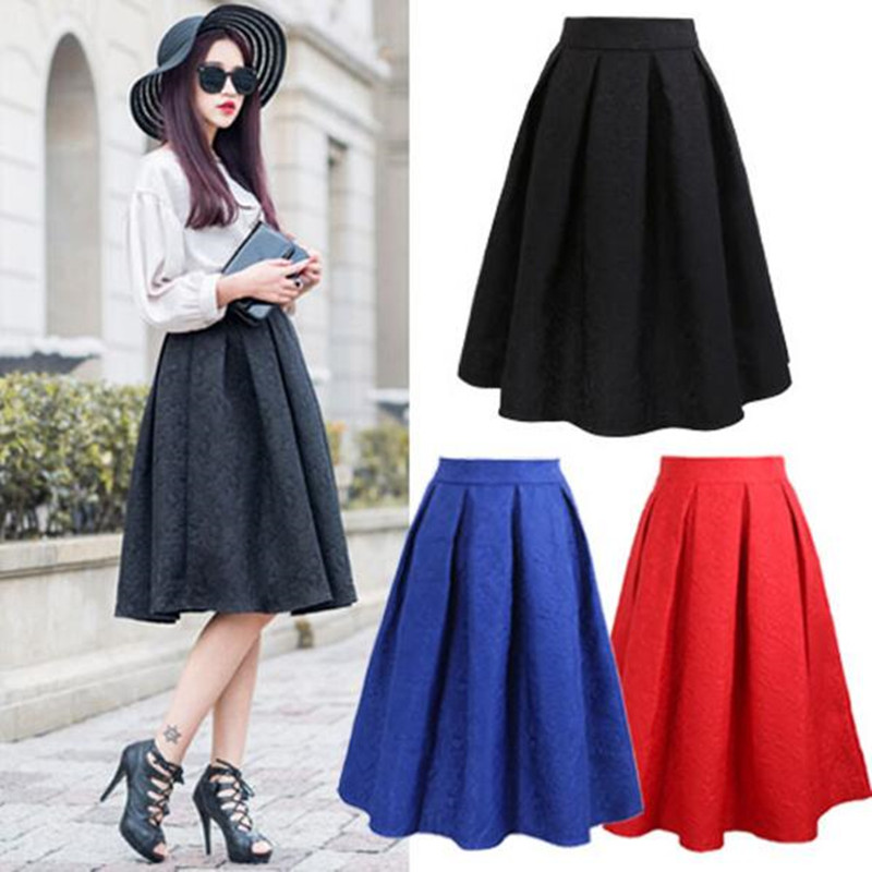 Neophil 2019 Winter Black Red Jacquard Pleated Ball Gown Skater Ladies Midi Skirts Womens Plus Size Office Wear Tutu Saia S08044
