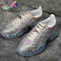 DORATASIA Spring New INS Luxury Crystal Sneakers Women Whole Genuine Leather 2019 Ladies Fashion Flat Platform Shoes Woman Flats