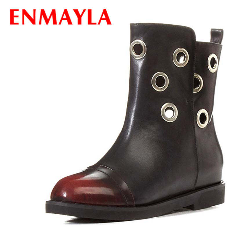 ENMAYLA 2 Colors Blue Shoes Woman Low Heels Large Size 34-43 Winter Short Boots Cuts-out Ankle Boots for Women Platform Shoes enmayla ankle boots for women low heels autumn and winter boots shoes woman large size 34 43 round toe motorcycle boots