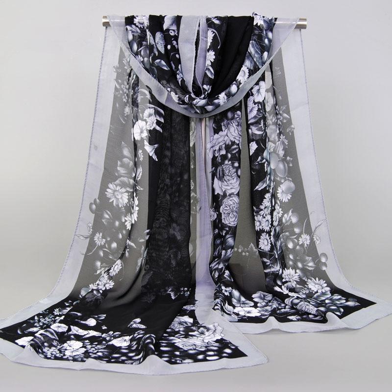 New Fashion Women Baeach Scarf Long Shawl Spring Summer Silk Chiffon Bufanda Hijab Wrap Ponchos And Capes Foulard Femme
