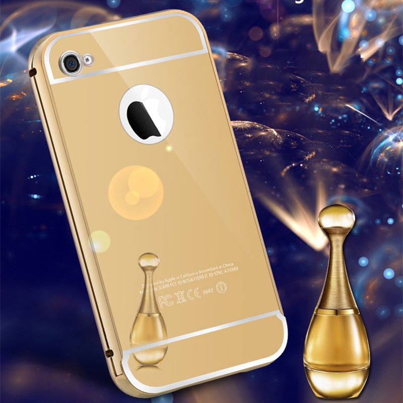 Luxury Noble Mirror Cases For iPhone 6plus Aluminum Frame + Hard PC Plating Arcylic Back Cover For iPhone7plus Metal Phone Cove