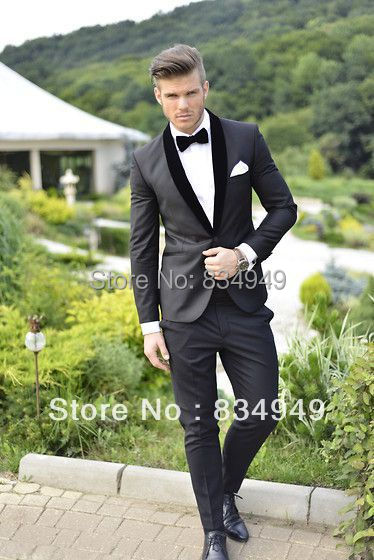 Groom Wear Slim Fit Suit Black Tuxedo Custom Made Wedding Suits For