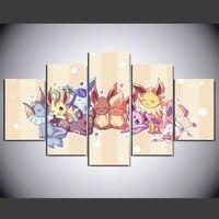 Оптовая 5 панель HD напечатаны масляной живописи мультфильм Покемон плакат картина на холсте home decor wall art pictures для гостиной F0546