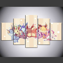 Wholesale 5 panel HD printed oil painting cartoon Pokemon poster canvas art home decor wall art pictures for living room F0546