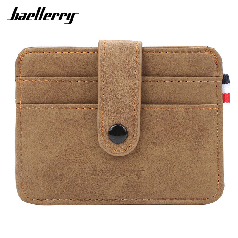 Baellerry Super Thin Card Wallets Brand Designer Male Card Holders Matte Leather Slim Credit Card Case Man Vintage Small Purse