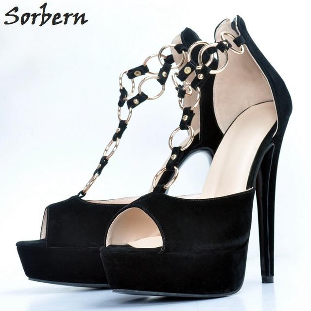 01adbbb827b Sorbern Platform Plus Size Women Pumps T Strap Designer Shoes Women Luxury  2018 Shoe Size 45