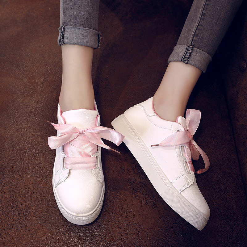 2018 hot bowknot fashion vulcanize pu leather breathable size 35-40 women Four seasons shoes New arrival woman casual shoes pink