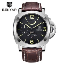 New BENYAR Automatic Mechanical Watch Mens Fashion Top Brand Luxury Wrist Watches Men Military Sports Leather Clock montre homme