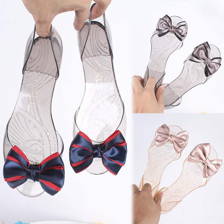 Fashion Bow Womens Sandals Flats Girls Jelly Shoes Female Open Toe Casual Beach Slides Comfortable Soft Ladies SlippersFashion Bow Womens Sandals Flats Girls Jelly Shoes Female Open Toe Casual Beach Slides Comfortable Soft Ladies Slippers