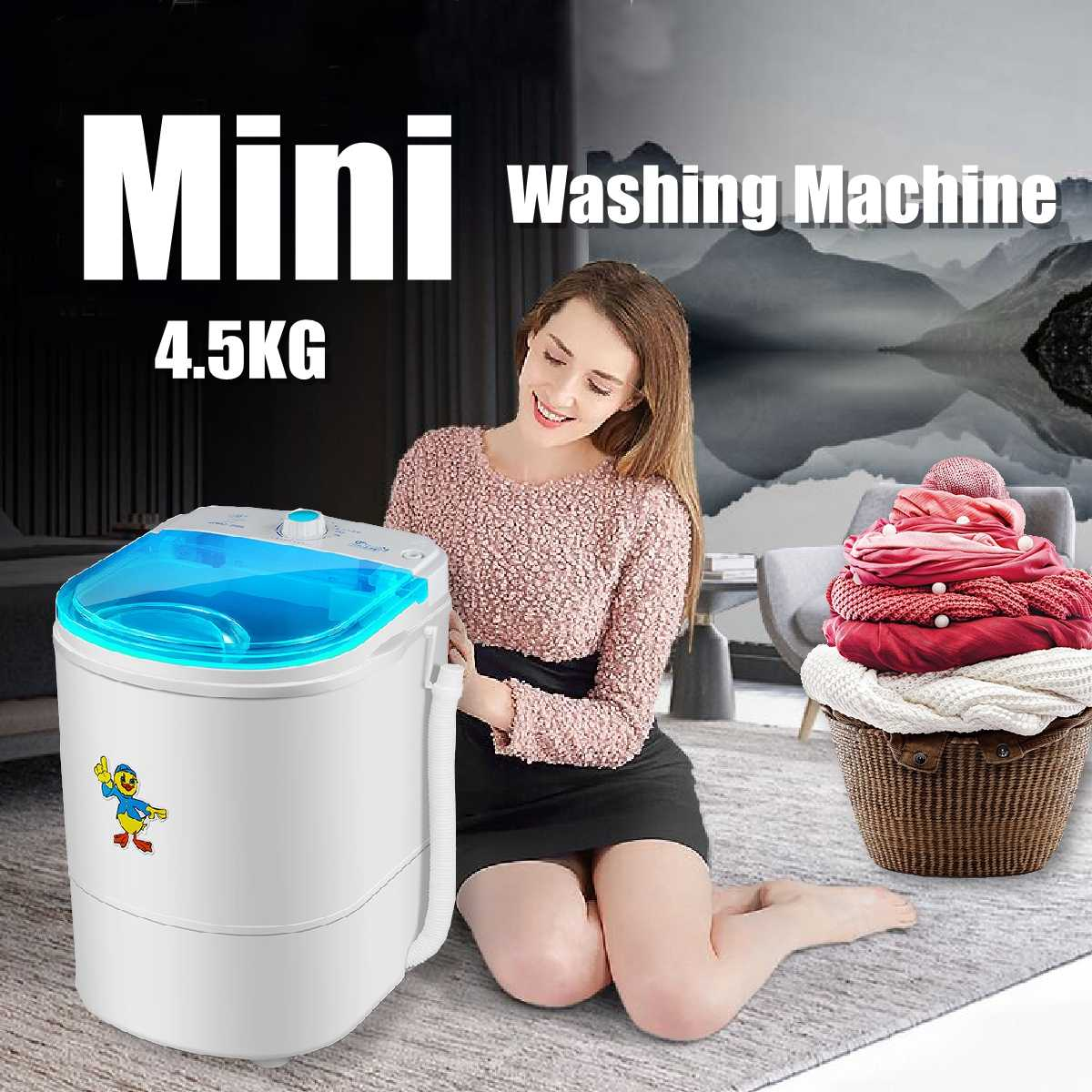 225W 9.9 lb Clothes Portable Mini Washing Machine Spin Compact Washer Low Noise for Home Dorm machine single-barrel washer image