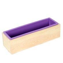Dikdörtgen sabun kalıp silikon esnek Loaf kalıp ahşap kutu ile ev yapımı soğuk işlem 1200g